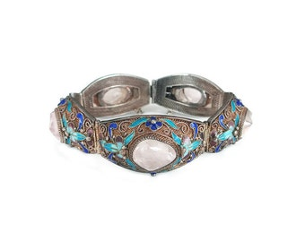 Chinese Export Rose Quartz Silver Enamel Bracelet - Butterfly Insect, Blue Purple, Silver Filigree, Vintage Bracelet, Vintage Jewelry