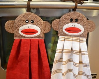 Sock Monkey Doll Hanging Towel, Embroidered, Hangs on Stove, Refrigerator, Cabinets, Choice of Dish Towel Color