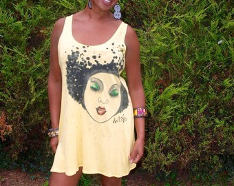 Hand painted vest top / dress. Cotton Jersey. One size. Fits 12 - 16