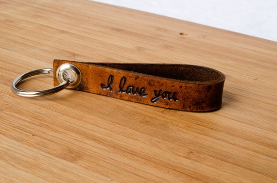 I Love You Custom Leather Keychain with Personalized Date - Accessory, Anniversary Gift, Custom Keychain, Wedding Gift,