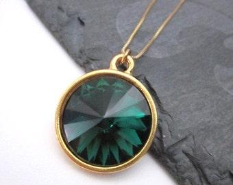 Green Swarovski Necklace -- Dark Green Necklace -- Round Green Pendant Necklace -- Gold & Emerald Green Necklace -Emerald Swarovski Necklace