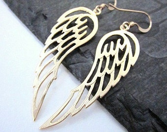 Gold Angel Wing Earrings -- Guardian Angel Earrings -- Wing Earrings -- Angel Wing Earrings -- Wing Dangles -- Gold Wing Jewelry