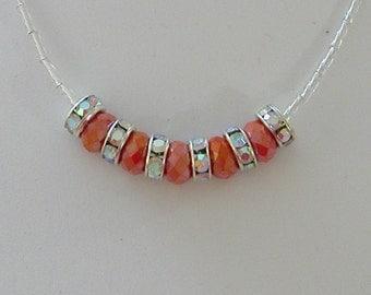 Minimalist Thank You Necklace Salmon Crystals & Swarovski Crystals