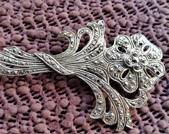 Vintage Marcasite brooch set 1930-40s signed Sterling  art deco