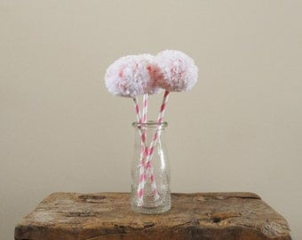 Pink and White Pom Pom Flowers - Baby Nursery Decor - Kids' Rooms - Whimsical Blooms - Shower/Party Decor - Fiber Flowers