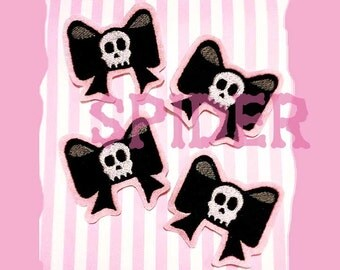 Dead Cute Iron on Patch Skull Bow Light Pink Black White Embroidered Embroidery