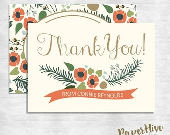 Fall wedding / Thank you cards / Thank you notes / Printed cards