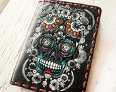 Leather Passport Cover - Colorful Hand Painted Sugar Skull - Day of the Dead - Mexicali Southwestern Passport Wallet - Made to Order Gift