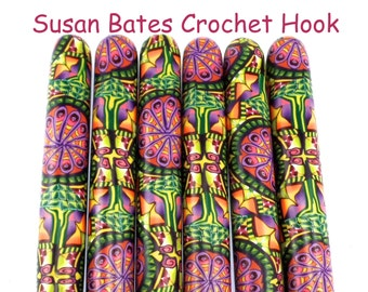 Crochet Hook, Polymer Clay Covered Susan Bates Crochet Hook, Fun, Unique, Colorful Design, Made to Order