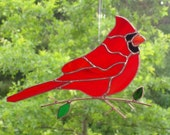 Cardinal - Stained Glass Bird Suncatcher - Large 070716