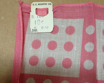 "12"" Pink Hanky Polkadot Handkerchief GC Murphy NWT Fifties"