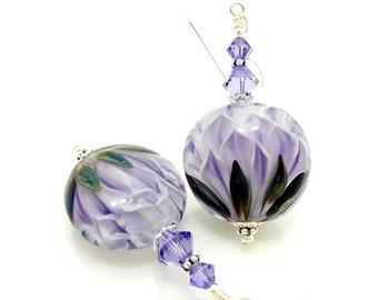 Purple Earrings, Glass Earrings, Lampwork Earrings, Glass Beads Jewelry, Beadwork Earrings, Unique Earrings, Lampwork Jewelry, Lotus Flower