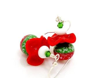 Red and Green Earrings, Ruffle Earrings, Christmas Earrings, Lampwork Earrings, Beadwork Earrings, Holiday Earrings, Fun Earrings