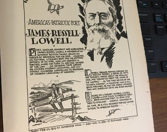 Book page print. James Russell Lowell America's Patriotic Poet 7 x11 Great for framing for the collector. History.