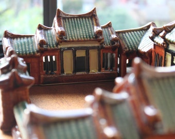 Vintage Ceramic Chinese Farm House Model from Taiwan, 8 Pieces Set, Asian, Unique Gift Idea