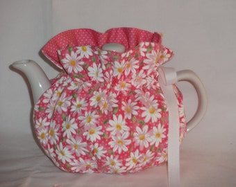2 Cup Pretty White Daisies on Pink Reversbile Teapot Cozy