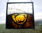 FREE UK POSTAGE Hanging Traditional Stained Panel Sleeping badger -  Perfect gift, Suncatcher, home decor