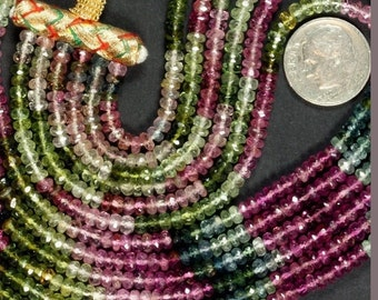 Watermelon Tourmaline Rondelles Roundels Rondels Faceted Pink Green Indicolite Earth Mined Gemstone -7 Inch Strand - 3.5mm