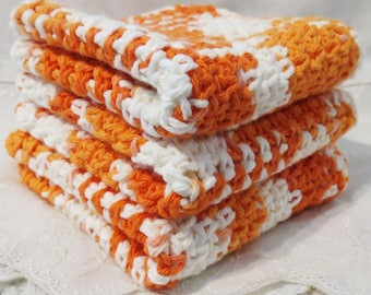 Creamsickle Cotton Crocheted Wash Cloths Orange and White Ombre Set of Three