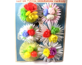 Kitschy Vintage Clip On Plastic Ornamental Flowers for Hats, Handbags, Footwear, etc - Never Used