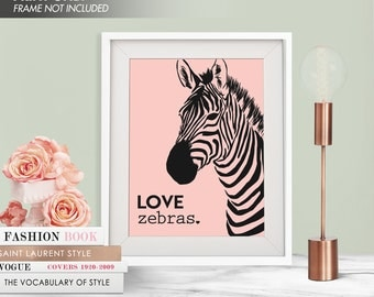 LOVE ZEBRAS - Art Print (Featured in and Rose Quartz Black) Love Animals Art Print and Poster Collection