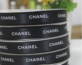 "4 yards :  BLACK  Fashion Printed Satin Ribbon  7/8"" inch wide 22mm. Gift Wrap 