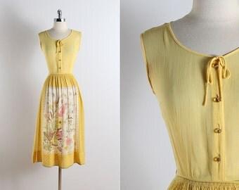 Vintage 50s dress | vintage 1950s L'aiglon dress | yellow floral cotton dress xs/s | 5789
