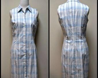 TEENFLO Ivory Pale Blue Plaid Sleeveless Shirt Dress Sheath Button Front Size 8