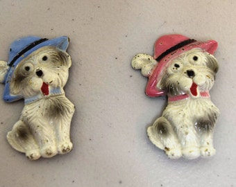 2 VINTAGE 1930s/40s Enamel over Metal Terrier Dog Pinbacks Pins Brooches Pink & Blue
