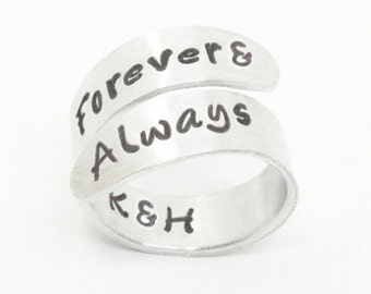 Forever & always initials ring - Personalized relationship promise ring couples ring - Romantic ring - Girlfriend Christmas gift
