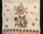 Vtg Pink and Gold Linen Tea Towel With Flowers
