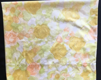 Vtg Pillowcase - Queen Size -  Yellow and Orange Flowers - Cannon Royal Family