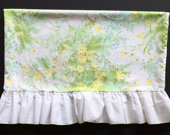 Vtg Pillowcase - Yellow and Green Floral with Ruffle