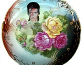 David Bowie Portrait Plate - HUGE Altered Vintage Plate 12.5""