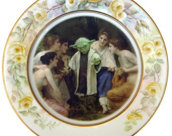 Yoda and the Nymphs Portrait Plate  - Altered Vintage Plate 10.25""