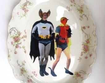 "Batman and Robin - BFF Portrait - Altered Vintage Plate 10.5"""