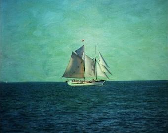 Sailboat art, sailing art, nautical art, coastal art print, textured art print, color print