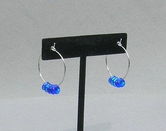 Blue Iridescent Fringe Earrings