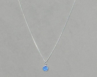 September Birthstone- Sapphire Drop Necklace