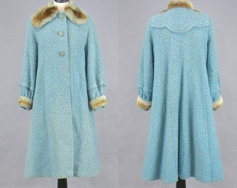 Vintage 60s Swing Coat, 1960s Wool Coat, Light Blue Winter Coat with Faux Fur Trim