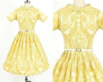 50s Dress, Vintage 1950s Full Skirt Dress, Paisley Print Cotton Day Dress by Vicky Vaughn