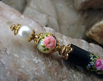 Cream Pearl and Pink Rose Japanese Tensha Hair Stick Hair Accessories Chignon Pin Flower Haarstab Hair Pins Floral Hair Chopsticks – Akala