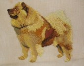 Chow Chow Needlepoint for Pillow or Wall Hanging, Brown Chow Dog 18 x 18
