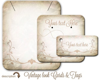 Custom Earring Card  Jewelry Display 031  Vintage Grunge Cottage Chic Necklace Tags Wedding Favor TagBracelet Tags