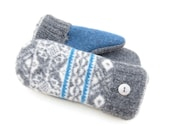 Felted Wool Sweater Mittens Fleece Lined Blue and Gray Diamond Pattern