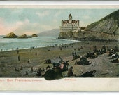 Cliff House Beach Scene San Francisco California 1910c postcard