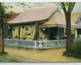 Tent Dwelling Camp Ocean Grove New Jersey 1910c postcard