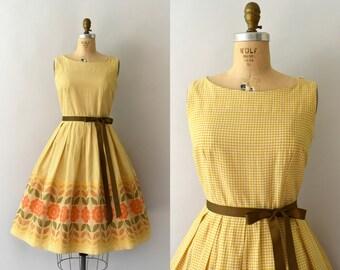 1950s Vintage Dress - 50s Golden Yellow Gingham Floral  Sundress