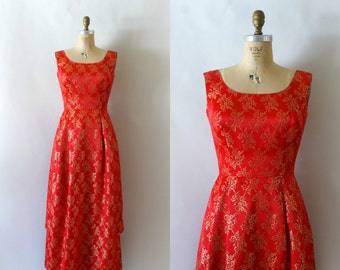 Vintage 1960s Dress - 60s Red and Gold Satin Party Dress
