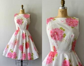 Vintage 1960s Dress - 60s Bold Pink Floral Cotton Sundress